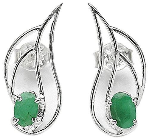 Pendientes de tuerca, esmeralda auténtica de 0,7quilates y plata de ley 925 sólida, para mujeres y niñas
