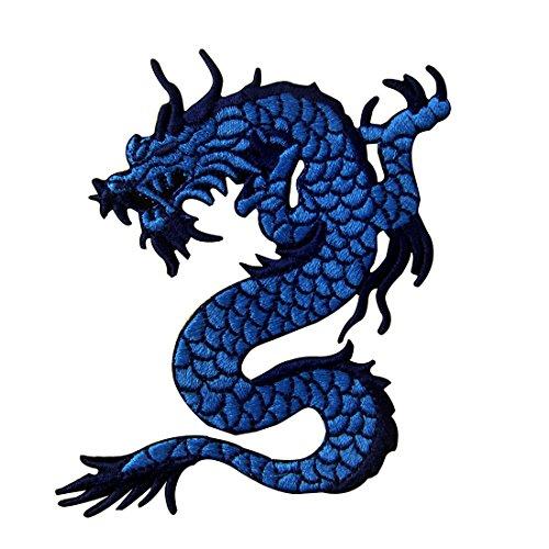Aufnäher, bestickt, Design: Blauer Drache, zum Aufbügeln oder ()