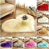 Homeofying Fluffy Love Heart Shape Faux Plush Rug Anti-Slip Carpet Door Mat Home Bedside Decor Cushion Crawling Mat Play Mat
