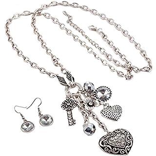 Kristall Herz Charm Anhänger antik silber Farbe lange Armatur Halskette und Ohrringe Schmuck-Set