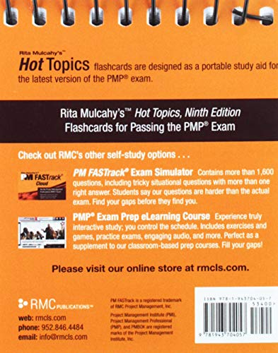 Rita Mulcahy's Hot Topics: Flashcards for Passing the Project Management Professional (PMP) Exam