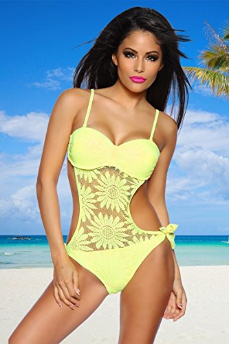Neck Holder Trikini con Red plástico en flor Allover Neon Pink/Neon Amarillo/Negro,...