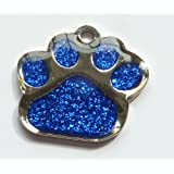 Engraved 27mm DARK BLUE GLITTER PAW PRINT Pet ID Tag - ENGRAVED & POSTED FREE by M&K Supplies. Cat Dog Shape Design Identity Gift