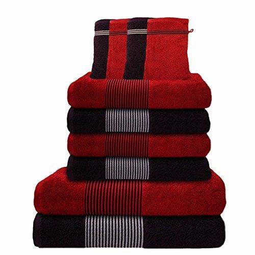 Liness-Stripes 10 tlg Handtuch-Set 4 Handtücher 50×100 cm 2 Duschtücher Badetücher 70×140 cm 4 Waschhandschuhe Waschlappen 16×21 cm 100% Baumwolle rot braun brombeere
