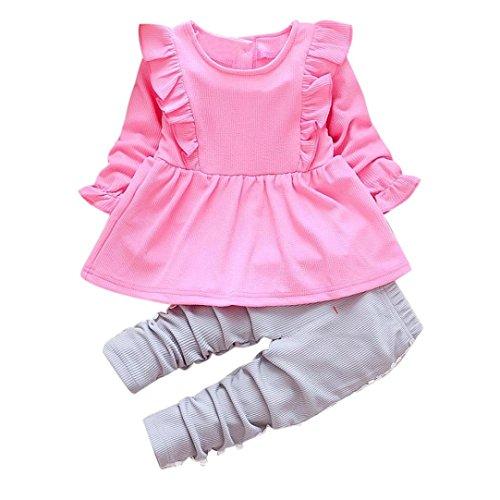 Kobay Kleinkind Kinder Baby Mädchen Outfits Lange Ärmel T-Shirt Tops + Spitze Hosen Kleidung Set (80/1Jahr, Heiß Rosa) (Tshirt Heißes Thema)