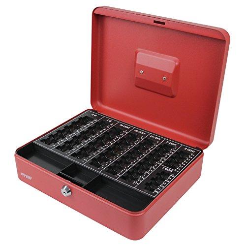 Preisvergleich Produktbild HMF 108-03 Geldkassette Euro-Münzzählbrett 30 x 24 x 9 cm, rot