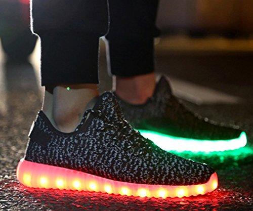 Aidonger Scarpe da corsa 7 colori alla moda carica LED luminoso Unisex da uomo donna Scarpe sportive LED EU35-EU46 nero