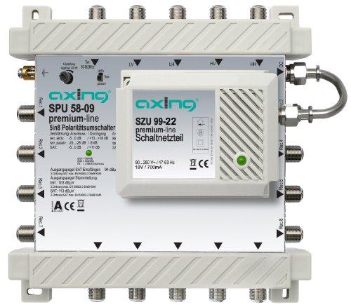 Axing SPU 58-09 Multiswitch 5 a 8 Espandibile con Amplificatore per il Satellite e Terrestre