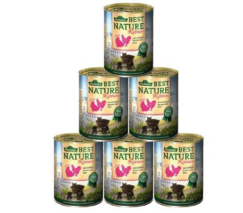 Dehner Best Nature Katzenfutter Kitten, Geflügelherzen mit Reis, 6 x 400 g (2.4 kg)