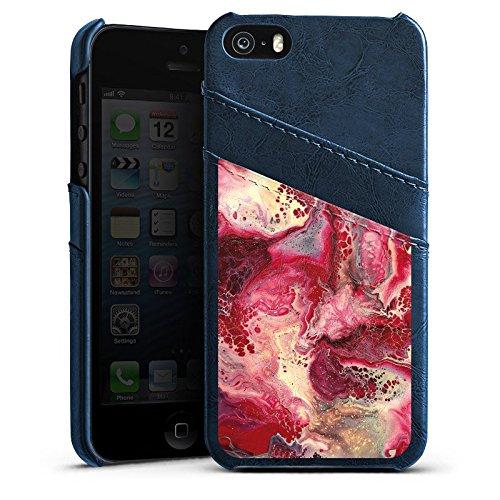 Apple iPhone 4 Housse Étui Silicone Coque Protection Marbre Structure Rouge Étui en cuir bleu marine