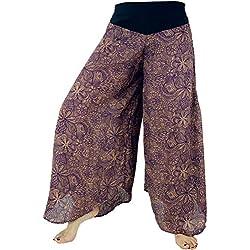 GURU-SHOP Pantalones Palazzo Falda Campana Pantalones Verano Pantalones Hippie Goa Pantalones, Púrpura, Viscosa, Tamaño:38, Pantalones Largos