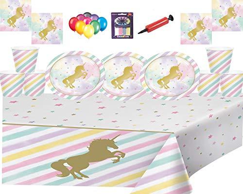 Mágico Unicorn Sparkle Party Vajilla-Party Plate, Copas, Servilletas, Cubierta de mesa con velas gratis Globos y globos Pump-16 Invitados