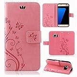 Handy Tasche Handyhülle Wallet Schutz Hülle Blumen Flip Cover Buch Case Etui von ZhinkArts für HTC M8 Rosa