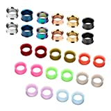 JSDDE Schmuck,Set 14 Paare 3-20mm Chirurgenstahl+Silikon Flesh Tunnel Ohr Plug Double Flared Ohrpiercing Klassisch Punk(14mm)