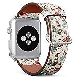 MysticBand Compatible avec Apple Watch (Grand) 42mm / 44mm, Bracelet de Remplacement en Cuir avec Connecteurs en Acier Inoxydable - Papillons Mignons libellules
