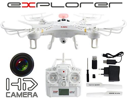 GYD Drone Video Foto HD Kamera 103-108V Explorer 2,4GHz Drohne LED HD Ferngesteuert + Zubehör Quadrocopter LED Kamera HD Fly Extrem Ferngesteuert 103 Video