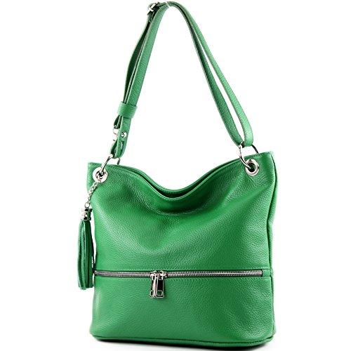 modamoda de - T143 - ital Schulter-/Umhängetasche aus Leder, Farbe:Grün -