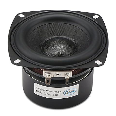 DROK® 40W Stereo-Lautsprecher mit Subwoofer, 4Ω 4-Zoll-Anti-magnetischen Lautsprecher mit Super-Low-Bass, Black Square Startseite Woofer-Lautsprecher mit 87 dB Hohe Empfindlichkeit, Subwoofer-Lautsprecher mit super großer