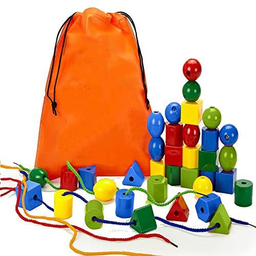 Alledomain 36Pcs Schnürsenkel Jumbo Primäre Perlenschnur für Kleinkinder und Babys Montessori Lernspielzeug Enthält 4 Strings und Tragetasche - Ein Tolles Spielzeug für Jungen und Mädchen Alter 3+
