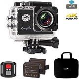 Caméra Sport 4K WiFi, CrazyFire 16MP Ultra HD Caméra d'Action Etanche 30M, 2 pouces LCD, Caméra de Sport Wi-Fi avec Télécommande et 2 Batteries 1050mAh et 17 Kits d'Accessoires (Noir)