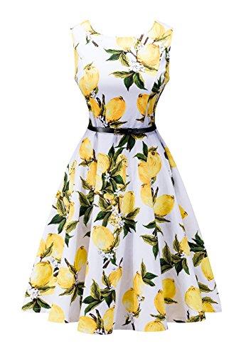 OMZIN Frauen Classy Vintage 50er Jahre Hepburn Style White Swing Kleid Gelb XXL (Kleider Brautjungfer Classy)