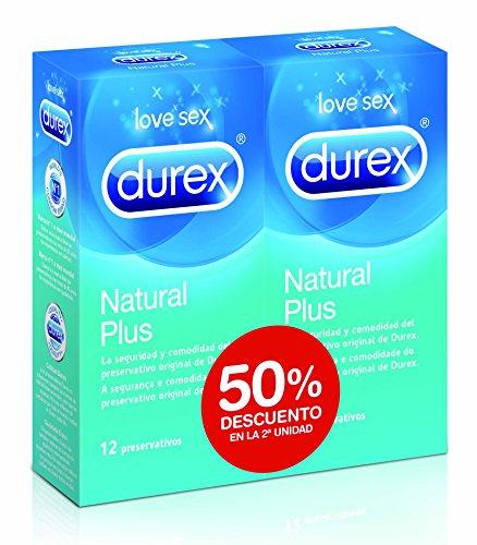 Durex Preservativos Natural Plus - Paquete de 2 x 12 unidades - Total: 24 unidades