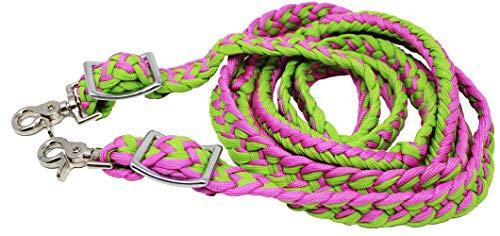 ProRider Pferd Knoten geflochten Roping Western Barrel Zügel Nylon pink Lime grün 60790