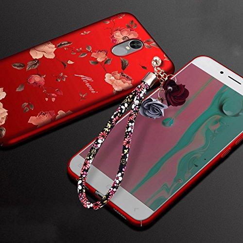 Coque Xiaomi Redmi Note 4X Ultra-Fine et Anti-Rayures Matte Bumper Hull Shell, Sunroyal Hard PC Matière avec [Protecteur d'écran] [Ultra Mince] [Ultra Léger] Anti-Rayures Anti-dérapante Très mince Non Rouge Peony