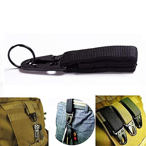 Mousqueton militaire à boucle pour clés avec sangle en nylon, système d'attache MOLLE, Noir