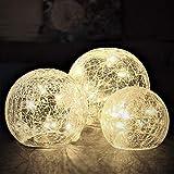 Gadgy  Crackle Glaskugeln Lichter | Ø 8, 10, 12 cm Kugellampe | Dekorative Innen Tischbeleuchtung | Warm Weiße LED | Batteriebetrieben Leuchtkugel | Stimmungslicht Nachtlicht Tischlampe