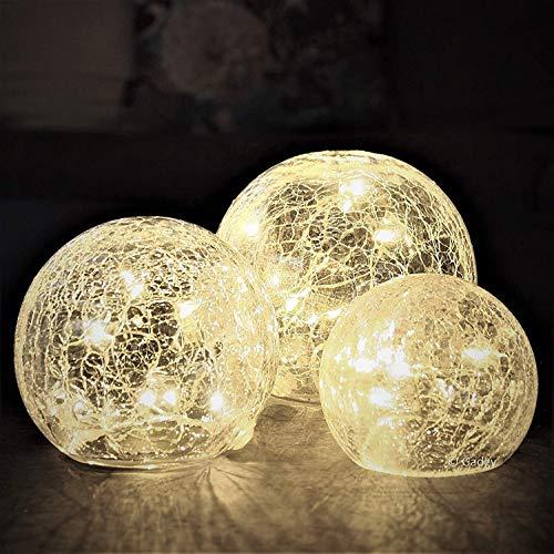 Gadgy ® set di sfere di cristallo craquelé | globi dal diametro di 8, 10 e 12 cm| luci decorative da tavolo per interni | stringa led bianco caldo | a batteria | lampada notturna palla luce mood light