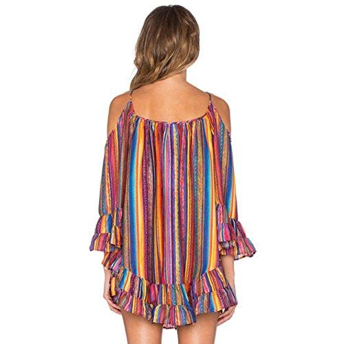 WOCACHI Sommer Regenbogen Frauen Drucken säumte Strand Kleid lose Chiffon Bügel Kleid Mehrfarbig