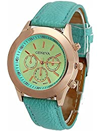 Geneva Small Mint Green Dial Faux Leather Strap Analog Watch For Women, Girls