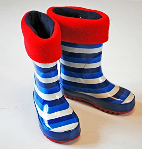 Childrens Welly Warmas - Red Cuff / Navy Foot - Size 7-9 - Age 3/4
