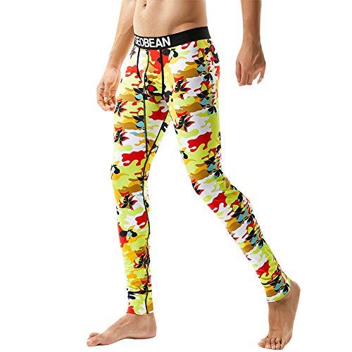 Sooner Quicker Männer Camouflage Print Baumwolle Leggings Thermische Lange Unterhosen Unterwäsche Hosen (2XL, Gelb) - Männer Shirt Thermische