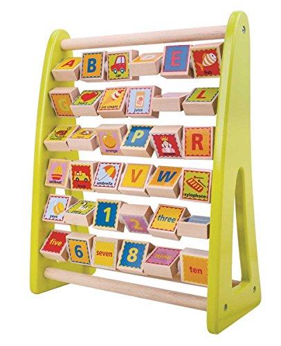 Tooky Toy - Ábaco alfabético con ilustraciones y vocabulario en inglés - Juguete educativo para niños y niñas a partir de 24 meses