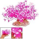 """SODIAL(R) Herbe/plante aquatique artificielle en plastique Decoration pour aquarium Design de """"fleur de pecher"""""""