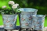 Juego de 3 Maceteros de Zinc en Gris con Decoración Floral