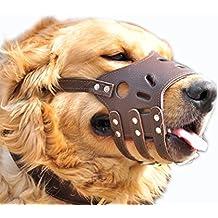 Bozal de perro ajustable Anti Bite corteza permite bebida suave cuero (XL)