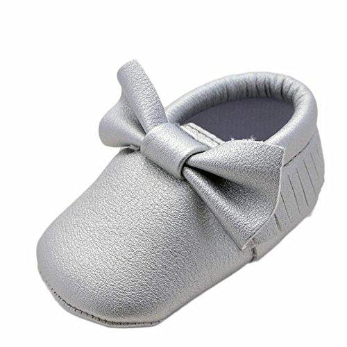 Zolimx Baby Mädchen bowknot Quasten Schuhe Kleinkind Weich Sohle Turnschuhe Freizeitschuhe Silber