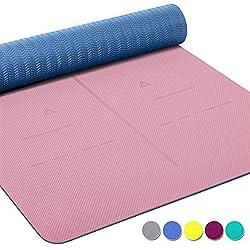 Heathyoga ® Estera de Yoga, Sistema de alineación único, de Peso Ligero, Antideslizante, protección del Medio Ambiente, Tamaño: 183cm x 65cm. Espesor: 6 mm.