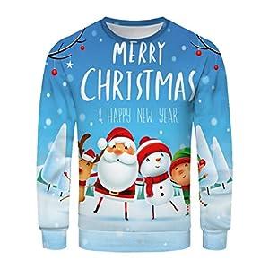 3D Drucken Unisex Herren Pullover Langarmshirt Weihnachtspullover Druck Winter Loose Jumper Santas Kleidung Tops Outwear Coat Warm Bequem Bluse Christmas Pulli Sweater