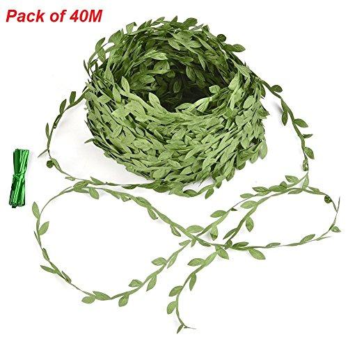 40 mètres plante artificielle ,JRing Vigne artificielle,vert olive artificielle feuilles feuilles de lierre peuvent être utilisés pour la couronne de décoration de mur de jardin de mariage