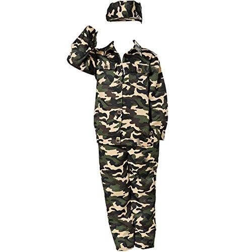 Jungen Soldat Kostüm Kinder Armee Anzug Suit Tarnuniform Kostüm Halloween Uniform Cosplay von Discoball