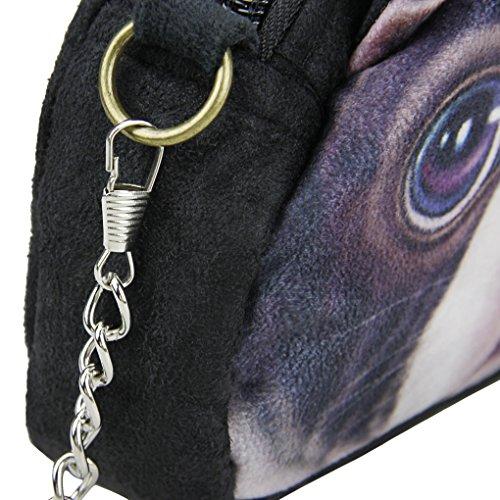 Liying Neu Cartoon Umhängetasche Handstasche Schultertasche Messenger Bag Trage Tasche Geldbeutel Reisetasche Handytasche Hunde Klein Tasche Schwarz