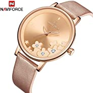 Naviforce Women's Gold Dial PU Leather Chronograph Watch - NF5012-RG