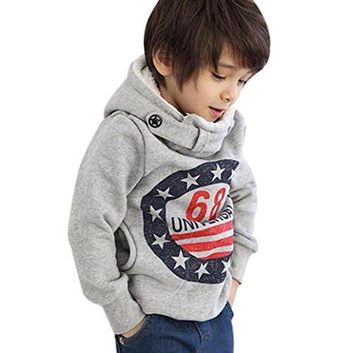 K-youth® Para 3-7 años Niños Ropa De Invierno Sudadera con capucha Sudadera para niño Gris, 7 años...