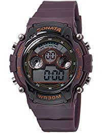 Sonata Digital Brown Dial Men's Watch -NK77006PP03