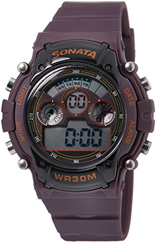 Sonata Digital Brown Dial Men's Watch -NK77006PP03