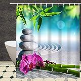 Duschvorhang, Waschbares 100% Polyester, Wasserdichtes Beständig mit Plastikhaken, Antiform-Form-Freie Bad-Vorhänge, 180 x 200 cm Langer, Bambus Stein Orchidee